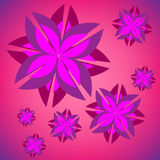 Illustration des Hintergrundes mit purpurroten Blumen Stockfotografie
