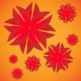 Illustration des Hintergrundes mit roten Blumen Stockbilder