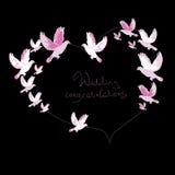 Illustration des Hochzeitselements von Fliegen Tauben Stockbild