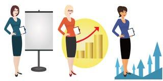 Illustration des in hohem Grade erfahrenen Referenten auf weißem Hintergrund Stockbild