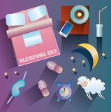 Illustration des icônes de vecteur au sujet de thème de sommeil Photo libre de droits