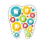 Illustration des icônes dentaires réglées Images stock