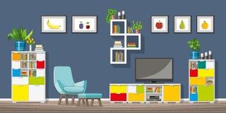 Illustration des Innenraums eines modernen Wohnzimmers Lizenzfreie Stockfotografie