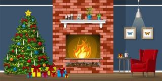 Illustration des Innenraums eines Wohnzimmers mit Weihnachtsbaum Stockbilder