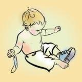 Illustration des Jungen setzend auf Schuhe Little Boy setzte Schuhe an Stockfotos