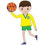 Illustration des Karikaturbasketball-spielers Junge mit Basketballkugel Stockbild