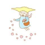 Illustration des Karikaturfliegenmädchens mit Herzen lizenzfreie abbildung
