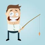 Mann mit Fischen auf Linie Lizenzfreie Stockfotografie