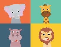 Illustration des Karikaturpferds, Marienkäfer, Killerwal, Nilpferd, Igeles, Hamster, Giraffe, Goldfisch auf weißem Hintergrund Stockfotografie