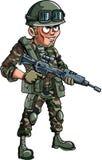 Illustration des Karikatursoldaten mit einem Gewehr Lizenzfreie Stockfotos