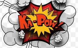 Illustration des Karikaturwortes Kapow auf weißem Hintergrund stock abbildung