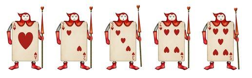 Illustration des Kartensoldaten der drei von Vereinen Stockfotos
