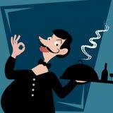 Illustration des Kellners dienend dem Kunden Stockfoto