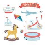 Illustration des Kinderspielzeugsatzes Stockfotos