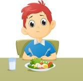 Illustration des Kindes traurig mit seinem Frühstück Lizenzfreie Stockfotos