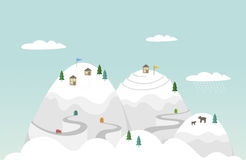 Illustration des kleinen Bergdorfes im Schnee Lizenzfreie Stockfotografie