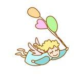 Illustration des kleinen Engelsfliegens mit Ballonen stock abbildung
