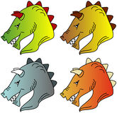 Illustration des Kopfes eines Drachen in vier Farbveränderungen Lizenzfreie Stockfotos
