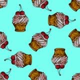 Illustration des Kuchens mit Kirschen Nahtloses Muster Lizenzfreies Stockfoto