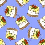 Illustration des Kuchens mit Kirschen Nahtloses Muster Lizenzfreie Stockbilder