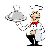 Chef, der einen Teller hält Stockfotografie