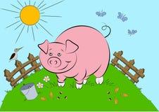 Illustration des lächelnden rosa Schweins Lizenzfreies Stockbild
