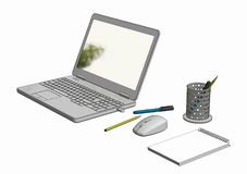 Illustration des Laptops mit drahtlosem Mäusenotizblock und -bleistiften Lizenzfreies Stockbild