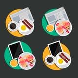 Illustration des Lebensmittels mit Geräten Lizenzfreie Stockfotos