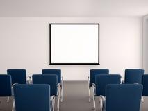 Illustration des leeren Konferenzsaales mit einem whiteboard für s stock abbildung