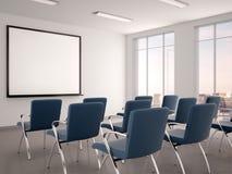 Illustration des leeren Konferenzsaales mit einem whiteboard für s Stockbilder