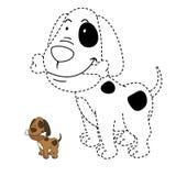 Illustration des Lernspiels für Kinder und Farbtonbuchhund Lizenzfreie Stockfotografie
