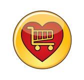 Illustration des Liebes-Einkaufsknopfes mit einer Einkaufslaufkatze Stockbilder