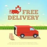 Illustration des Lieferungsservicekonzepts Tauschen Sie Packwagen für schnellen Versand vor dem hintergrund des Stadtbilds Lizenzfreie Stockfotografie