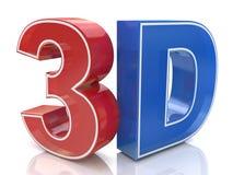 Illustration des Logos des Wortes 3D geschrieben in rote und blaue Farbe Lizenzfreie Stockfotos