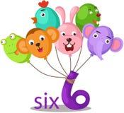 Charakter der Nr. 6 mit Ballonen stock abbildung