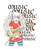 Illustration des Mädchens Gitarre, T-Shirt Druck spielend lizenzfreie abbildung
