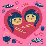 Illustration des Mädchens mit zwei Japanern Stockfoto