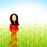 Illustration des Mädchens stehend auf dem Vergewaltigungsblumengebiet Stockfotos