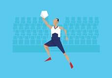 Illustration des männlichen Basketball-Spielers konkurrierend im Ereignis lizenzfreie abbildung