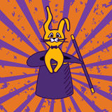 Illustration des magischen Hutes und des Kaninchens stock abbildung