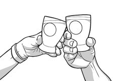 Illustration des mains masculines et femelles soulevant des verres avec les signes vides cheers illustration libre de droits