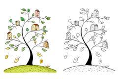 Illustration des maisons de griffonnage sur des branches d'arbre photos libres de droits