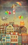 Illustration des maisons et des animaux mignons en ciel Photos stock