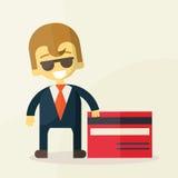 Illustration des Mannes Kreditkarte zeigend Stockbild