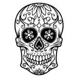 Illustration des mexikanischen Zuckerschädels Tag der Toten Dia De Los Muertos Gestaltungselement für Logo, Aufkleber, Emblem, Ze Stockfotos