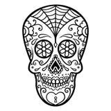 Illustration des mexikanischen Zuckerschädels Tag der Toten Dia De Los Muertos Gestaltungselement für Logo, Aufkleber, Emblem, Ze Stockfotografie