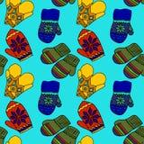Illustration des mitaines colorées Bel habillement d'hiver Photo libre de droits