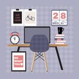 Illustration des modernen Büroarbeitsplatzes Lizenzfreie Stockfotografie