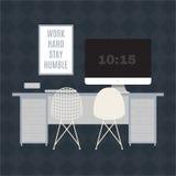 Illustration des modernen Büroarbeitsplatzes Stockfotos