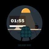 Illustration des modernen Büroarbeitsplatzes Freiberuflich tätige Nacht Stockfoto